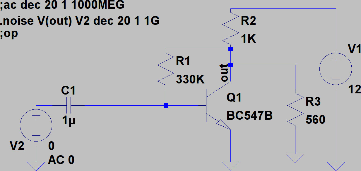 The BC547B in a Common Emitter amplifier setup.